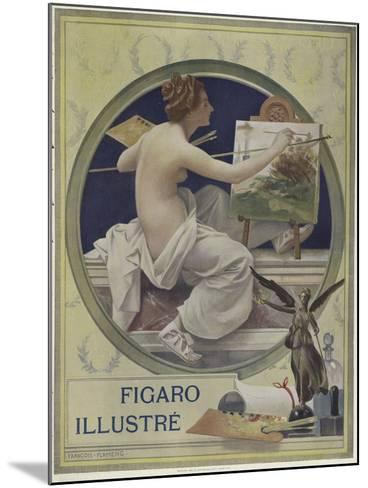 A Partially-Nude Woman Painting at an Easel-Francois Flameng-Mounted Giclee Print