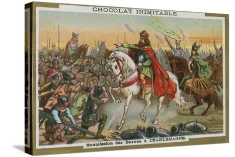 Submission of the Saxons to Charlemagne--Stretched Canvas Print