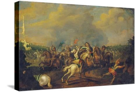 A Cavalry Skirmish-Palamedes Palamedesz-Stretched Canvas Print