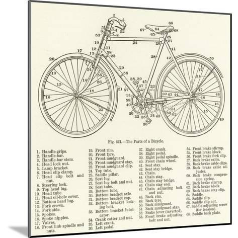 The Parts of a Bicycle--Mounted Giclee Print