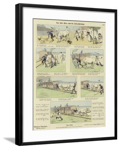 The Angry Bull and the Railway--Framed Art Print