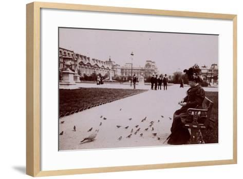 Woman Feeding Birds in the Jardin Des Tuileries--Framed Art Print