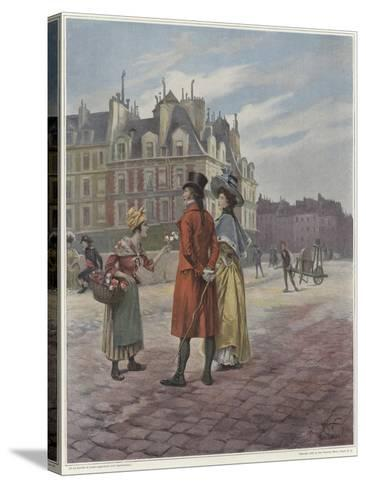 Flower Seller in Pont-Neuf-Georges Jules Auguste Cain-Stretched Canvas Print