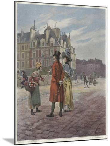 Flower Seller in Pont-Neuf-Georges Jules Auguste Cain-Mounted Giclee Print