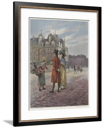 Flower Seller in Pont-Neuf-Georges Jules Auguste Cain-Framed Art Print
