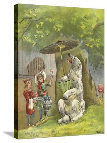 Polar Bear Being Fed Ice Cream Sundae by Children-Richard Andre-Stretched Canvas Print