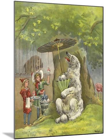 Polar Bear Being Fed Ice Cream Sundae by Children-Richard Andre-Mounted Giclee Print