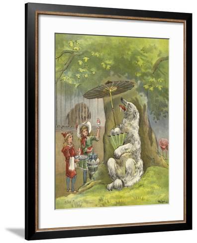 Polar Bear Being Fed Ice Cream Sundae by Children-Richard Andre-Framed Art Print