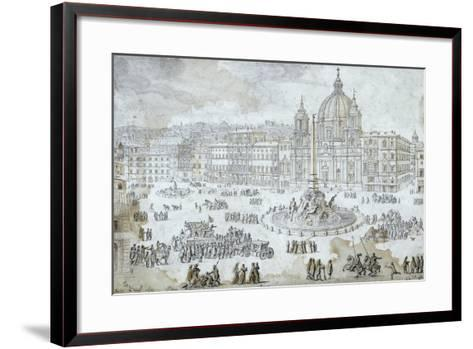 Piazza Navona in Rome-Lievin Cruyl-Framed Art Print