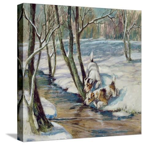 Two Terriers in a Snowy Landscape, C.1930--Stretched Canvas Print