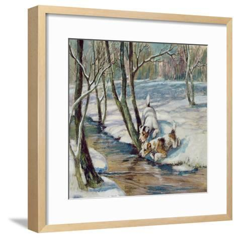 Two Terriers in a Snowy Landscape, C.1930--Framed Art Print