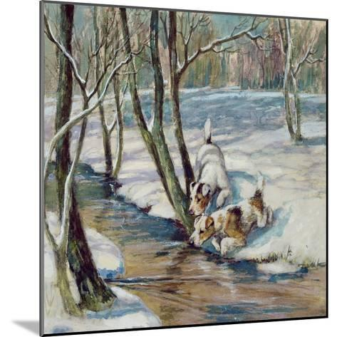 Two Terriers in a Snowy Landscape, C.1930--Mounted Giclee Print