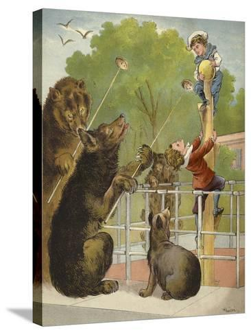 Bears Baiting Boys-Richard Andre-Stretched Canvas Print