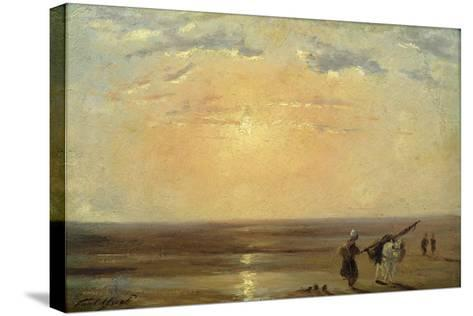 The Beach at Trouville with Setting Sun-Paul Huet-Stretched Canvas Print