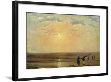The Beach at Trouville with Setting Sun-Paul Huet-Framed Art Print
