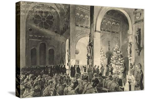 Christmas Celebrations in Flanders Church--Stretched Canvas Print
