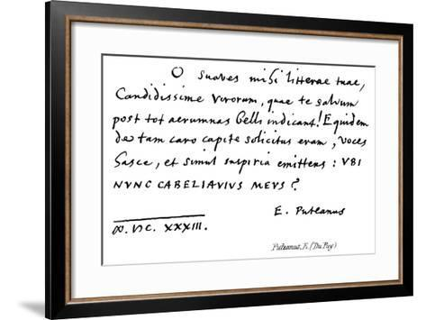 Puteanus, E--Framed Art Print