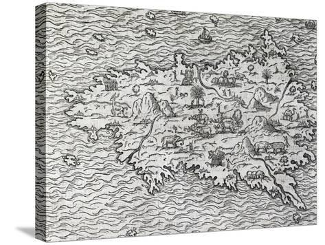 Map of Sumatra, Engraving-Andre Thevet-Stretched Canvas Print
