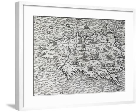 Map of Sumatra, Engraving-Andre Thevet-Framed Art Print