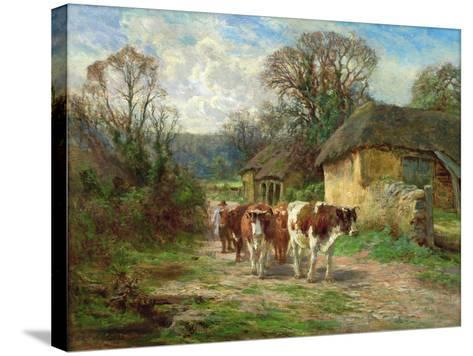 By the Barn-Charles James Adams-Stretched Canvas Print