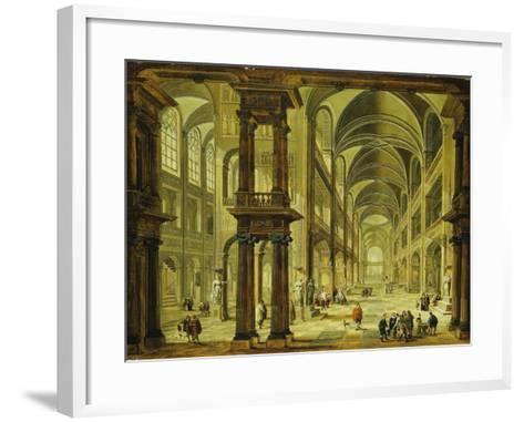 An Imaginary Church Interior with Figures-Christian Stocklin-Framed Art Print