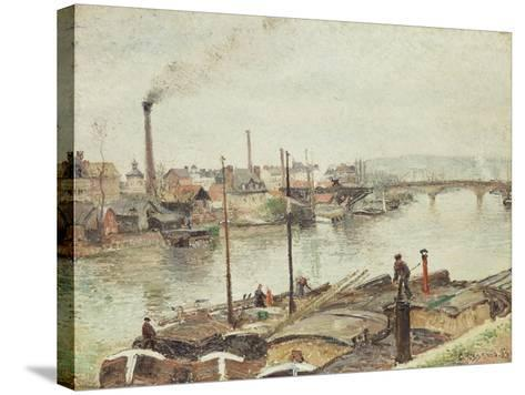 The Port of Rouen, 1883-Camille Pissarro-Stretched Canvas Print
