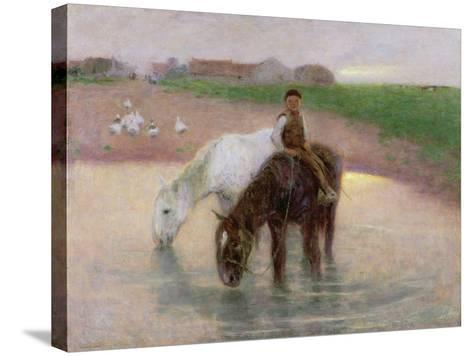 The Horse Pond, C.1890-Edward Stott-Stretched Canvas Print
