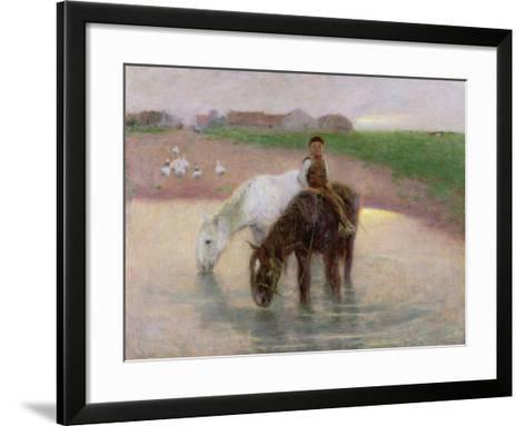 The Horse Pond, C.1890-Edward Stott-Framed Art Print