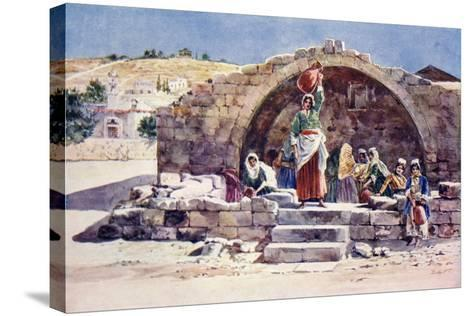 The Fountain of the Virgin, Nazareth, C.1910--Stretched Canvas Print