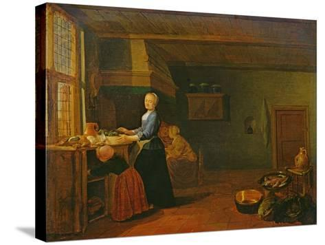 Kitchen Interior-Hendrik Martensz Sorgh-Stretched Canvas Print