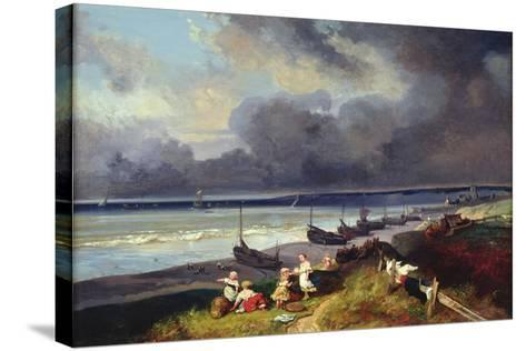 View of Dieppe-Louis Eugene Gabriel Isabey-Stretched Canvas Print