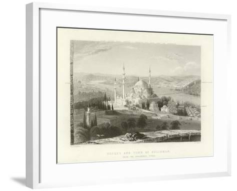 Mosque and Tomb of Suleiman, Constantinople-William Henry Bartlett-Framed Art Print