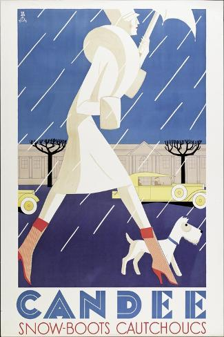 Poster Advertising 'Candee' Snowboots, 1929--Stretched Canvas Print