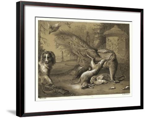 Still Life with a Peacock and a Dog-Jan Weenix-Framed Art Print