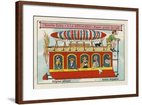 Dirigible Balloons: Aerial Stagecoach--Framed Art Print