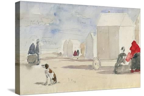 By the Bathing Machines, 1866-Eug?ne Boudin-Stretched Canvas Print