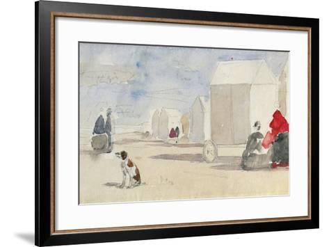 By the Bathing Machines, 1866-Eug?ne Boudin-Framed Art Print