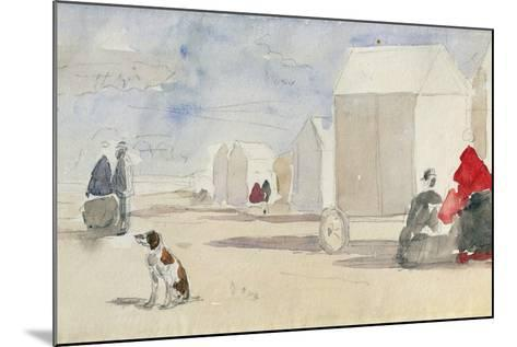 By the Bathing Machines, 1866-Eug?ne Boudin-Mounted Giclee Print