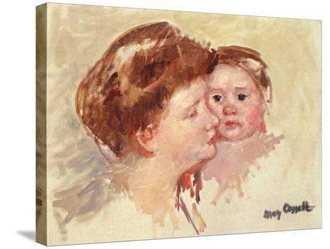 Mother in Profile with Baby Cheek to Cheek-Mary Cassatt-Stretched Canvas Print