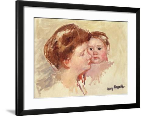 Mother in Profile with Baby Cheek to Cheek-Mary Cassatt-Framed Art Print