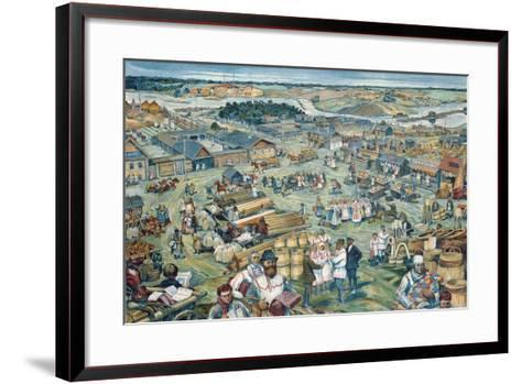 Life in a Kolkhoz--Framed Art Print