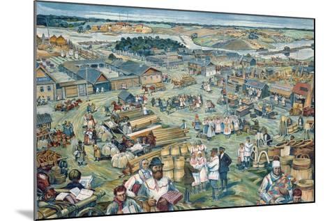 Life in a Kolkhoz--Mounted Giclee Print