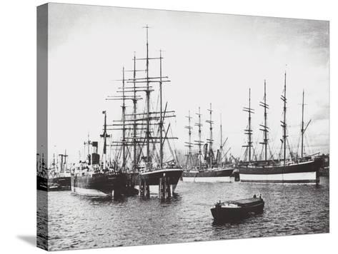 Passat, Priwall and Parma at Hamburg--Stretched Canvas Print