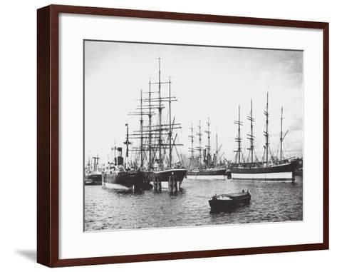 Passat, Priwall and Parma at Hamburg--Framed Art Print