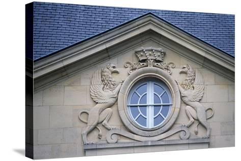 Porthole with Rampant Lions, Louvois Castle--Stretched Canvas Print