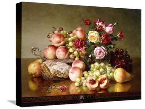 Fruit Still-Life with Roses and Honeycomb, 1904-Robert Spear Dunning-Stretched Canvas Print