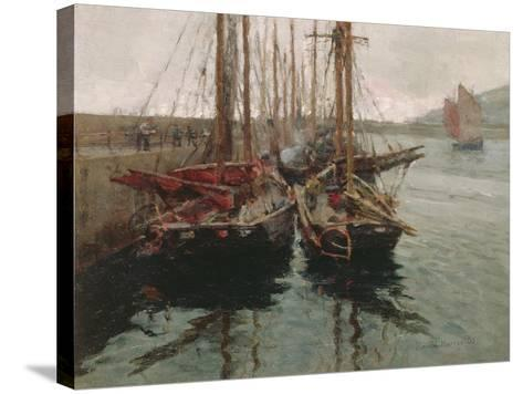 Penzance Fishing Boats in Newlyn Harbour, 1905-Harold Harvey-Stretched Canvas Print