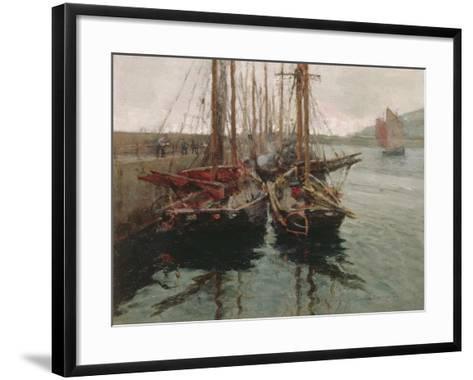 Penzance Fishing Boats in Newlyn Harbour, 1905-Harold Harvey-Framed Art Print