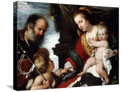 The Holy Family with the Infant St-Bernardo Strozzi-Stretched Canvas Print