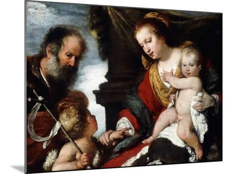 The Holy Family with the Infant St-Bernardo Strozzi-Mounted Giclee Print